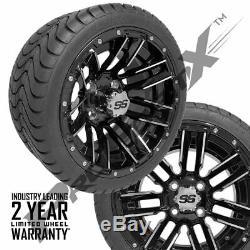 Golf Cart 12 Sledge Machined/Black Wheels on 215/35-12 Venom Streets Set