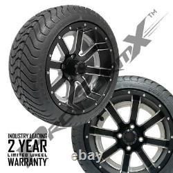 Golf Cart 14 Ambush Matte Black/Machine Wheels on 225/30-14 Street Tires