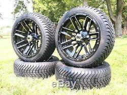 Golf Cart 14 Inch Black Wheels 205/40-14 Street Tires DOT EZGO Club Car YAMAHA