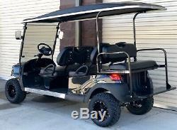 Golf Cart Club Car Black Lifted Custom Limo Electric Vehicle 6 Passenger