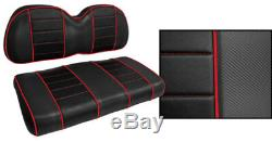 Golf Cart Custom Front Seat Covers BLACK with RED ACCENTS Club Car EZGO Yamaha
