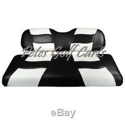 Golf Cart Custom Seat Covers BLACK/WHITE Club Car EZGO Star Yamaha