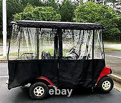 Golf Cart Enclosure Cover (4 seats with long roof) Black