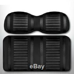 Golf Cart Front Seat Cushions Black & Carbon Stripe Club Car DS