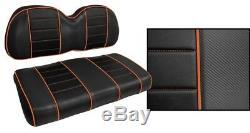 Golf Cart Seat Covers Custom BLACK & ORANGE Piping Stitches Club Car Ezgo Yamaha