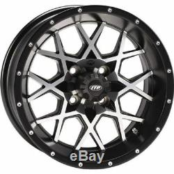 Golf Cart Set of (4) 12 Wheels/Rims ITP Black withMachined Hurricane 4/4 2+5 12X7