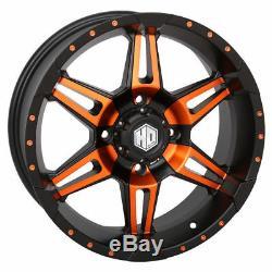 Golf Cart Set of (4) 14 Wheels/Rims STI HD7 Orange/Black 4/4 (2+5) 14X7