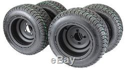 Golf Cart Tires & Wheels 10-205/50-10 with 10X7 Matte Black (Assembly of 4)