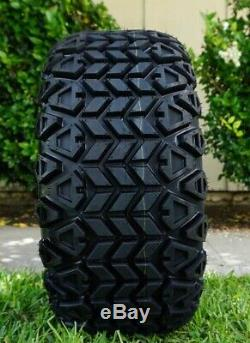 Golf Cart Tires and Wheels 14 Gloss Black All Terrain 23x10-14 Tires DOT