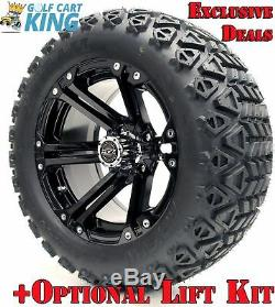 Golf Cart Wheels and Tires 14 Nitro Black with All Terrain Tires (x4)