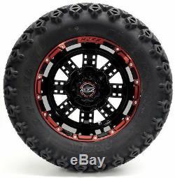 Golf Cart Wheels and Tires Combo 12 Madjax Transformer Red/Black Set of 4