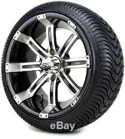 Golf Cart Wheels and Tires Combo 14 Tempest Machine Black- Set of 4