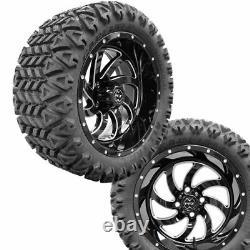 Golf Cart14 Phantom Gloss Black Wheels on 23 Carlisle A. T. Tires ProFormX