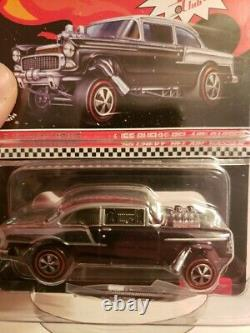Hot Wheels RLC 2016 Club Cars 55 Chevy Gasser, All 3 Black, Red & Blue withButtons