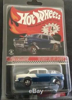 Hot Wheels RLC 55 Chevy Bel Air Gasser CLUB CARS Chrome Black Red Blue Set VHTF