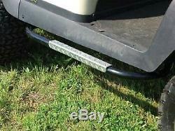 Jake's Club Car Precedent Golf Cart Nerf Bar Set Black withDiamond Plate Inlay