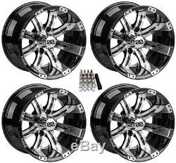 LSI 12 Casino Machined/Black Golf Cart Wheels/Rims E-Z-GO & Club Car