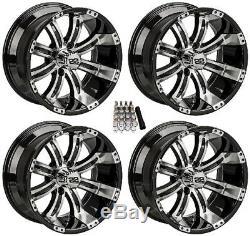 LSI 14 Casino Machined/Black Golf Cart Wheels/Rims E-Z-GO & Club Car