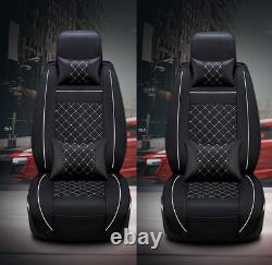 Leather 5-Seats Car 2 Front Seat Cover Cushion withPillows Size M-Black and White