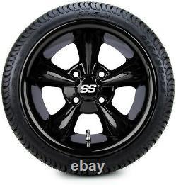 MODZ 12 Godfather Gloss Black Golf Cart Wheels and Tires (215-35-12) Set of 4