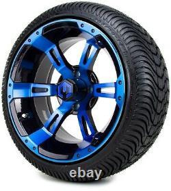 MODZ 14 Ambush Blue and Black Golf Cart Wheels and Tires (205-30-14) Set of 4