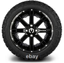 MODZ 14 Assault Black Ball Mill Golf Cart Wheels and MODZ Gripz Tires 22x10-14