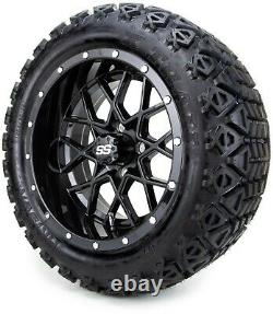MODZ 14 Vortex Glossy Black Golf Cart Wheels and Tires (23x10.00-14) Set of 4