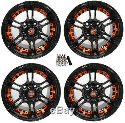 Madjax 10 Mirage Black/Orange Golf Cart Wheels/Rims E-Z-GO & Club Car
