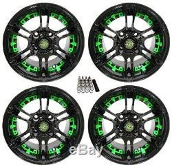 Madjax 12 Mirage Black/Green Golf Cart Wheels/Rims E-Z-GO & Club Car
