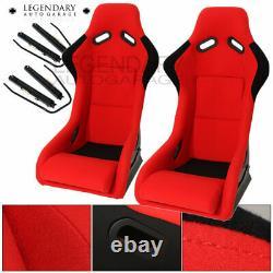 Pair Bucket Racing Drift Automotive Car Seats Spg Profi Style Red Black Cloth