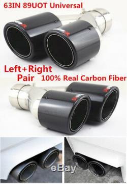Pair Glossy Black Real Carbon Fiber Car Dual Pipe Exhaust Pipe Tail Muffler Tip