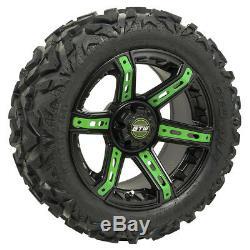 Set Of 4 14 GTW Black Tarantula Golf Cart Wheels Mounted on GTW Mud Tires Combo
