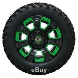 Set Of 4 Golf Cart 12 GTW Black and Green Wheels On All Terrain DOT Tires
