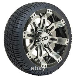 Set of 4 10 inch GTW Tempest Golf Cart Wheels on Street Tires