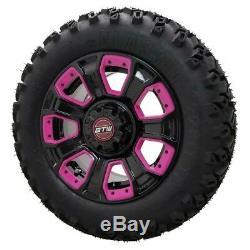 Set of 4 12 GTW Nemesis Black Wheels on 22 A/T Tires with Pink Inserts