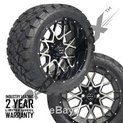 Set of 4 14 Chaos Mach/Black Wheels 22 Overkill A. T. Tires Lifted Golf Carts
