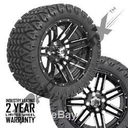 Set of 4-14 Sledge Mach/Black Wheels on 23 Carlisle A. T. Tires Lift Golf Carts