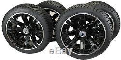 (Set of 4) 205/40-14 DOT Tire with Black Aluminum Wheel Assemblies