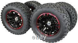 (Set of 4) 23X10.50-12 Glossy BLACK/RED Aluminum Golf Cart Tire Wheel Assemblies