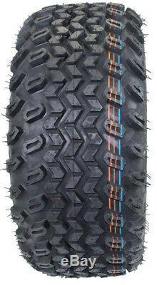 (Set of 4) 23X10.50-12 Glossy BLACK/RED Aluminum Golf Tire Wheel Assemblies