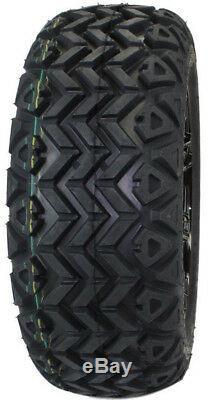 (Set of 4) 23x10.00-14 Tire with 14x7 Black Aluminum Wheel Assemblies