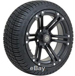 Set of 4 GTW 14 inch Specter Matte Black Wheels on Low Profile Tires