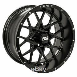 Set of 4 GTW 14x7 Matte Black Vortex Golf Cart Wheels 34 Offset