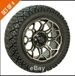 Set of 4 GTW Bravo 14 inch Bronze/Black Golf Cart Wheels on 23 GTW A/T Tires