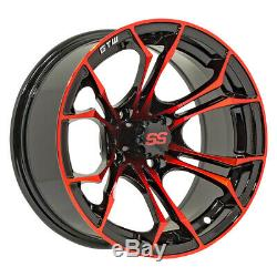 Set of 4 GTW Spyder 12 inch Black and Red Golf Cart Wheel With 34 Offset