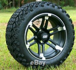 Set of 4 Golf Cart 12x7 Barracuda Matte Black Wheel with Sahara Classic AT Tires