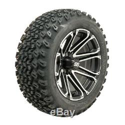 Set of 4 Golf Cart 14 inch Voyager Wheels Mounted on 23 inch All Terrain Tires