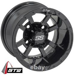 Set of 4 Golf Cart GTW Storm Trooper 10 inch Glossy Black Wheel With 34 Offset