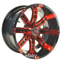 Set of 4 Golf Cart GTW Tempest 14 inch Red and Black Wheel With 34 Offset