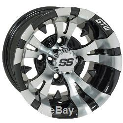 Set of 4 Golf Cart GTW Vampire 10 inch Machined and Black Wheel With 34 Offset